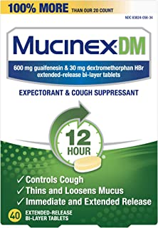 Mucinex Cough Suppressant and Expectorant, DM 12 Hr Relief Tablets, ct, 600 mg, Thins & loosens mucus that causes chest co...