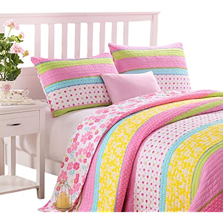 throw sized Polka dot quilt bright happy quilt.