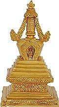 Gold Plated Tibetan Buddhist Stupa (Chorten) - 24K Gold Copper Statue from Nepal