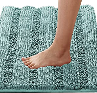 1 Piece Large Size Non Slip Thick Shaggy Chenille Bathroom Rug Mat Extra Soft and Absorbent Striped Rug Machine-Washable 2...