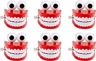 Blue Panda Chomping Teeth - 6-Pack Wind-Up Chattering Teeth with Eyes, Walking Teeth Toy, Perfect Party Favors, Novelty Toys and Gag Gifts for Halloween, Kids Birthday Parties, 2.5 x 2.6 x 2.5 Inches