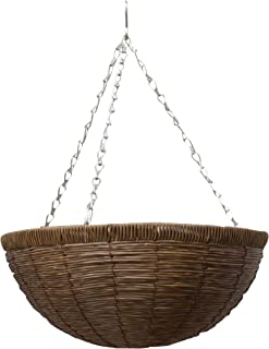 "Gardman R257 Faux Natural Brown Rattan Hanging Basket, 14"" x 6"""