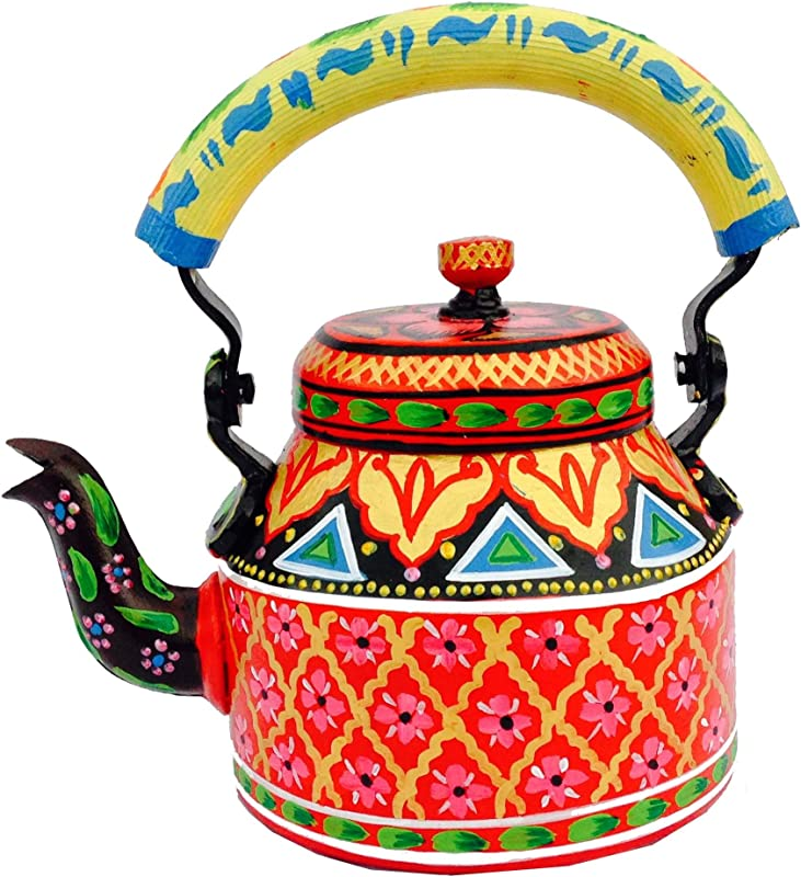 Beautiful Decorative Fancy And Designer Hand Painted Multicolor Tea Kettle Pot