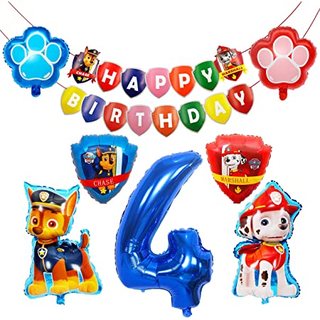 HONGECB Decoración Cumpleaños Patrulla Canina, Globos de Patrulla Canina, Suministros de Fiesta de Patrulla Canina, Perros Foil Helio Balloons for Kids Gift Fiesta de Cumpleaños , 9 Piezas