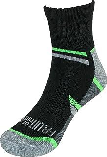 Fruit of the Loom Boy's Ankle Socks (6 Pair Pack), 3-9, Black