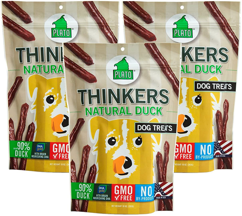 (3 Pack) Plato Thinkers Duck Sticks Dog Treats - 10oz
