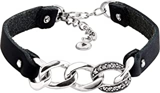 Silpada 'Best Dressed' Link Bracelet with Swarovski Crystals in Genuine Leather and Sterling Silver, 7.5