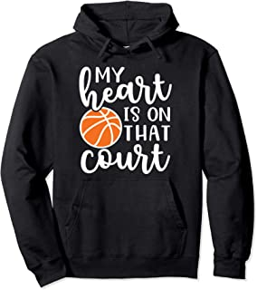 My Heart Is On That Court Mom Basketball Cute Funny Pullover Hoodie