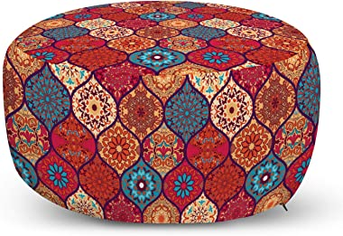 Ambesonne Moroccan Ottoman Pouf, Oriental Wavy Curvy Pattern with Spring Nature Inspired Retro Style Art Motifs, Decorative S
