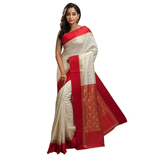 71108eb394 Avik Creations Women's Off-White, Red Border Tassar Art Silk Kanjivaram  Handloom Saree With