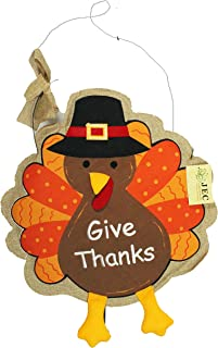 JEC Thanksgiving Door Hanger - Give Thanks Turkey Door Hanger Embroidered with Felt Feet on Burlap - Large 18x 18 Size - Colorful, Long-Lasting Design - Fall Door Decorations