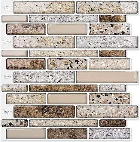 Amazon Com Art3d Peel And Stick Brick Kitchen Backsplash Self Adhesive Wall Tile Stone Design 10 Sheets Brown Kitchen Dining