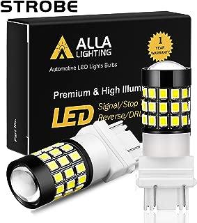 Alla Lighting T25 3157 3156 LED Strobe Brake Reverse Light Bulbs Super Bright 2835 39-SMD High Power 3056 3156 4057 3457 3057 3157 LED Strobe Flashing Back Up Brake Stop Light Bulbs, 6000K Xenon White