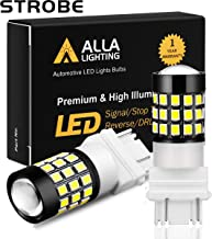 Alla Lighting T25 3157 3156 LED Strobe Brake Reverse Light Bulbs Super Bright 2835 39-SMD High Power 3056 3156 4057 3457 3057 3157 LED Strobe Flashing Back Up Brake Stop Light Bulbs, 6000K Xenon White