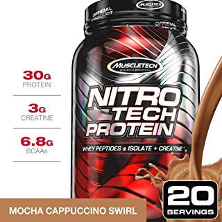 MuscleTech NitroTech Protein Powder Plus Muscle Builder, 100% Whey Protein with Whey Isolate, Mocha Cappuccino Swirl, 20 Servings (2lbs)