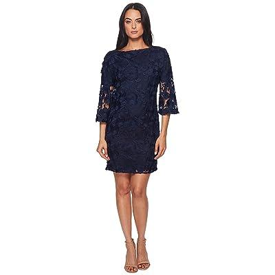 Badgley Mischka Lace Bell Sleeve Dress (Navy) Women