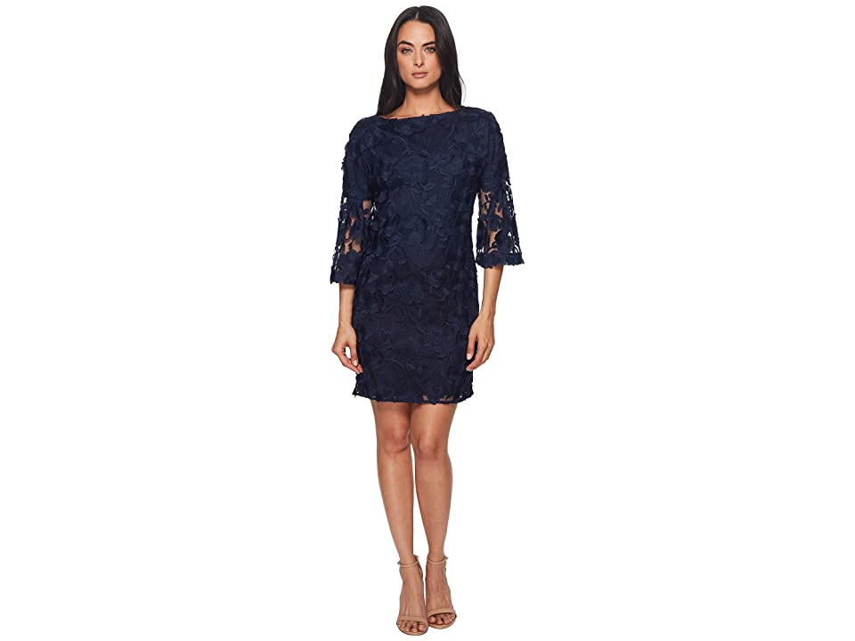 Badgley Mischka Lace Bell Sleeve Dress (Navy) Women