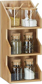 Relaxdays Organiseur en bambou 3 casiers compartiments bureau cuisine épices étagère boîte HxlxP: 41 x 18 x 17cm, nature