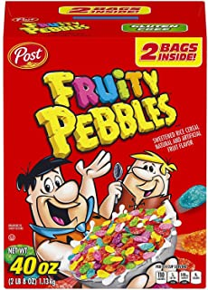 Post Fruity Pebbles Cereal 40 Ounce Box of 2 Bags