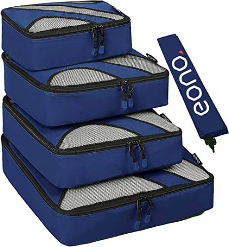 Amazon Brand - Eono 5 Set Cubes d'emballage, 4 Différentes Tailles Organisateurs d'emballage Bagages Voyage et 1 Sac ...