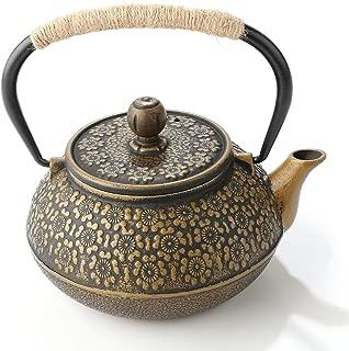 Cast Iron Kettle,Cast Iron Teapot Japanese Style Teapot 32 oz Iron Teapot Black Copper Plating Enamel Craft Teapot 950ml Cast Iron Tea Kettle