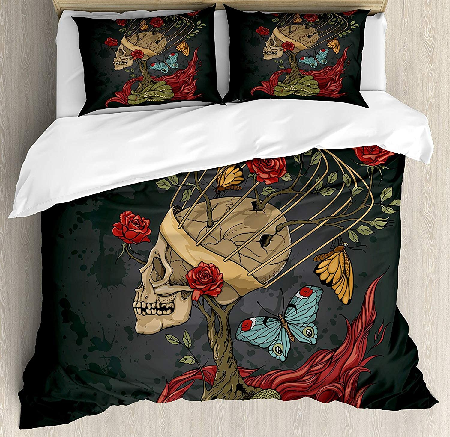 OneHoney Skull Ultra Soft 4 Pieces Bedding Sets, Evil Mexican Sugar Skeleton with Kitsch Bush of pinks Snake and Butterfly Artwork, Luxury Decorative Bedspread Duvet Cover Set, Ruby Dark Grey