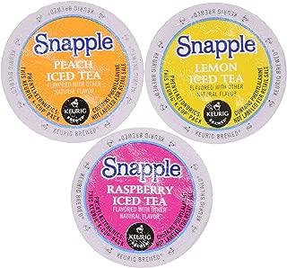 30 Pack - Snapple Variety Iced Tea Sampler K-Cup for Keurig Brewers - Lemon, Raspberry, Peach - Packaging May Vary