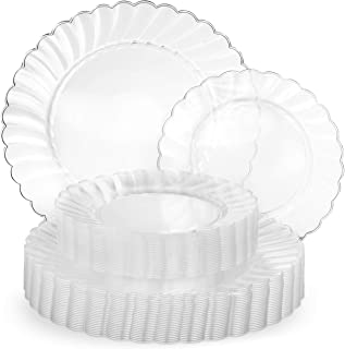 Perfect Settings 50 Piece (25 Sets) China Wedding Clear Plastic Plates (25 x 10 Inch Dinner / 25 x 7.5 Inch Salad) Disposable Dinnerware Set Heavy Duty Combo Party Plates (Clear Flared Edge)