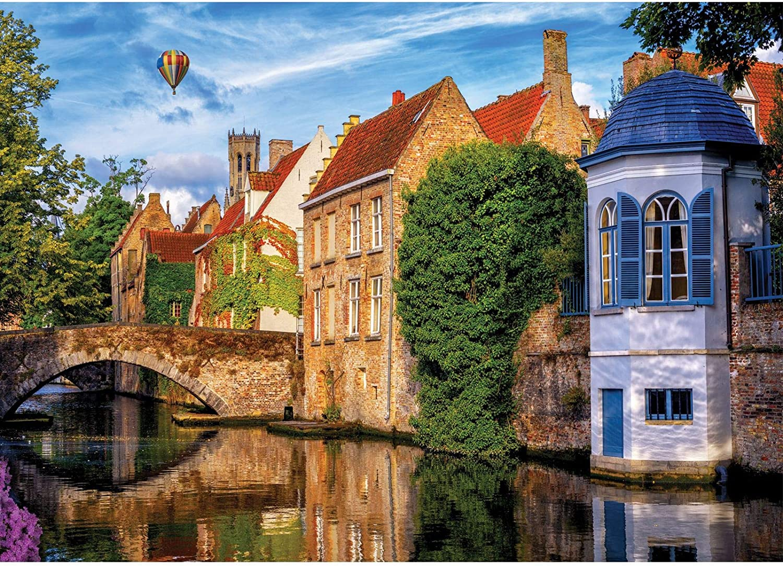 "1000 Piece Puzzles for Adults - Bruges Belgium - Charming Village Jigsaw Puzzles 1000 Pieces - 27"" x 20"" Landscape Puzzle - Precise Fit - Poster Included - Chaps Pastimes: Toys & Games"