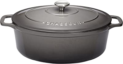 "CHASSEUR 6 quart Enameled Cast Iron Oval Dutch Oven, 15.25"" x 10"" x 7"", Caviar Gray"