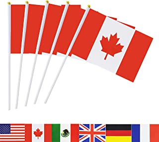 Canada Stick Flag,TSMD 50 Pack Hand Held Small Canadian National Flags On Stick,International World Country Stick Flags Ba...