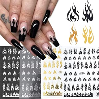 4 Sheets Flame Nail Art Stickers Decals,3D Fire Self-Adhesive Black Gold White Silver Flame Nail Art Supplies,DIY Fingerna...