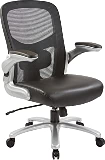 Office Star Big and Tall Mesh Back and Padded Bonded Leather Seat Executive Chair with Adjustable Lumbar Support, Adjustab...