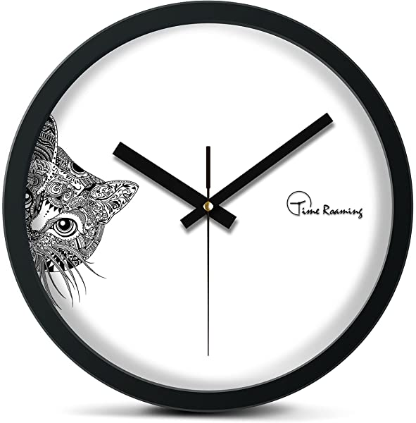 Time Roaming 10 Modern Decor Silent Metal Wall Clock Peep Cat