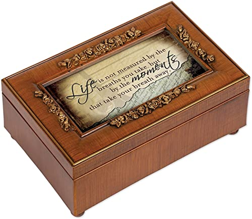 Life is Not Measurot by the Breaths You Take Walnut Finish Petite Jewelry Music Box Plays Wonderful World