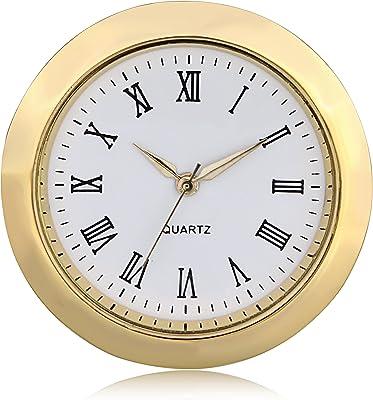 ShoppeWatch Mini Clock Insert Quartz Movement Round (55mm) Miniature Clock Fit Up White Dial Gold Tone Bezel Roman Numerals CK083GD