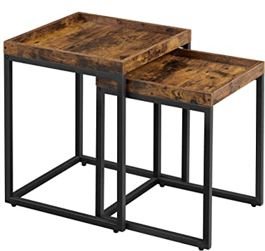 VASAGLE Industrial Nesting Tables, Set of 2 Side Tables, End Tables with Raised Edges, Coffee Tables for Living Room, Rustic