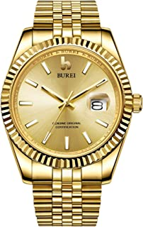 Men's Automatic Watch Analog Dial with Date Window Sapphire Crystal Stainless Steel Band and Case