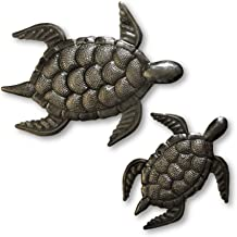 Sea Turtle Decor, Mom and Baby, Metal Sea Life Home Decor for Indoor and Outdoor, Handmade in Haiti 7.5 in. and 10 in.