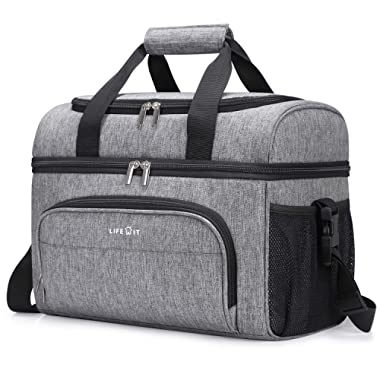 Lifewit Collapsible Cooler Bag 32-Can Insulated Leakproof Soft Cooler Portable Double Decker Cooler Tote for Trip/Picnic/Sports/Flight, Grey