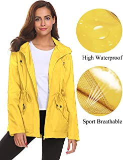 fa4bee5103041 Romanstii Rain Jacket Women Waterproof Hood Lightweight Raincoat Outdoor  Windbreaker