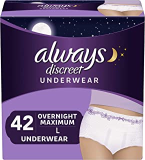 Always Discreet Incontinence & Postpartum Underwear for Women, Disposable, Overnight Maximum + Protection, Large, 14 Count - Pack of 3 (42 Count Total)