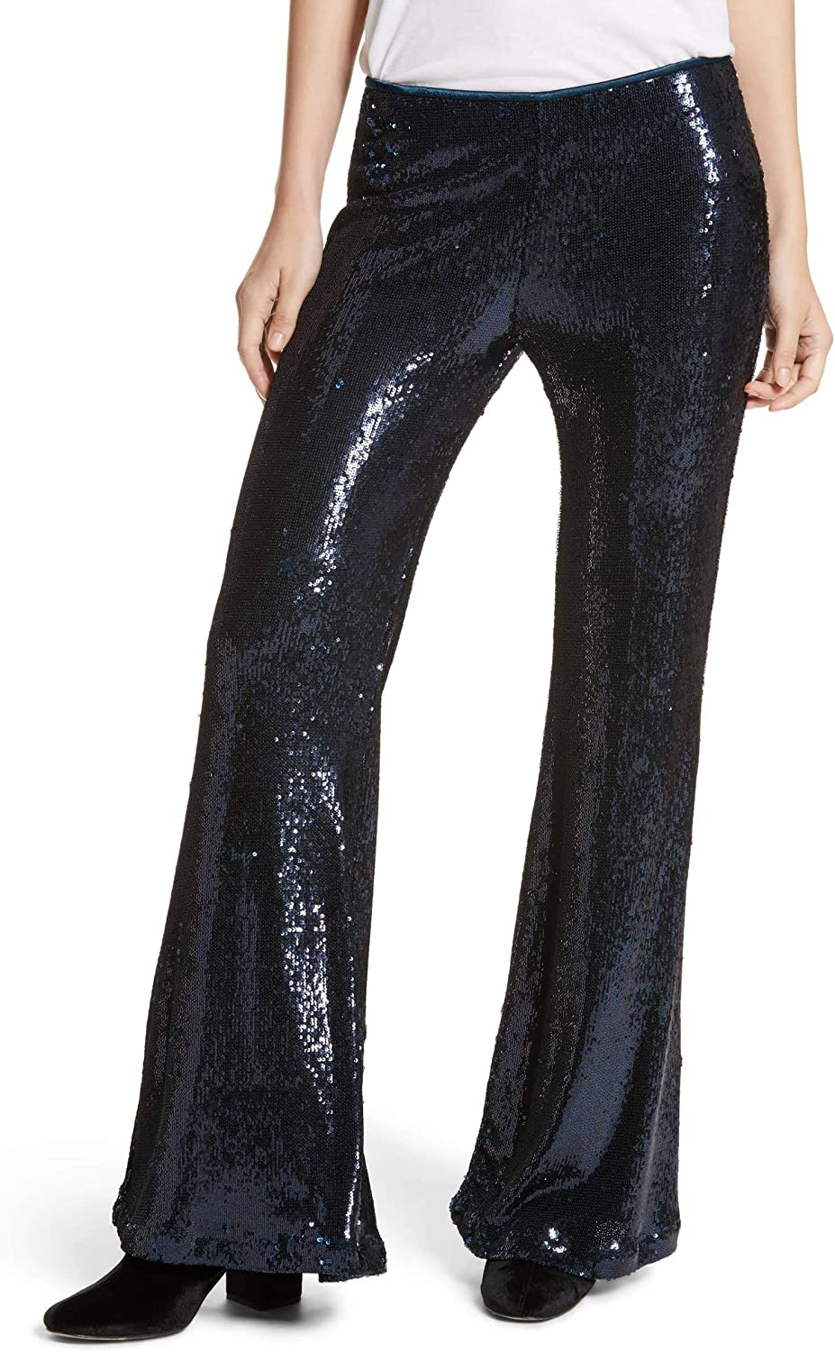 Free People Womens The Minx Sequin Flare Casual Wide Leg Pants