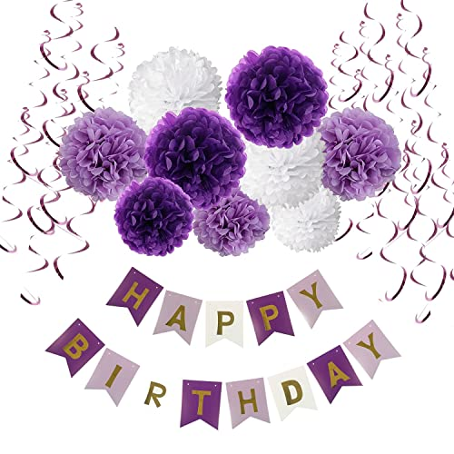 Birthday Decorations, Recosis Happy Birthday Banner Bunting with Tissue Paper Pom Poms and Hanging Swirl Decor for Birthday Party Decorations - Purple, Lavender and White