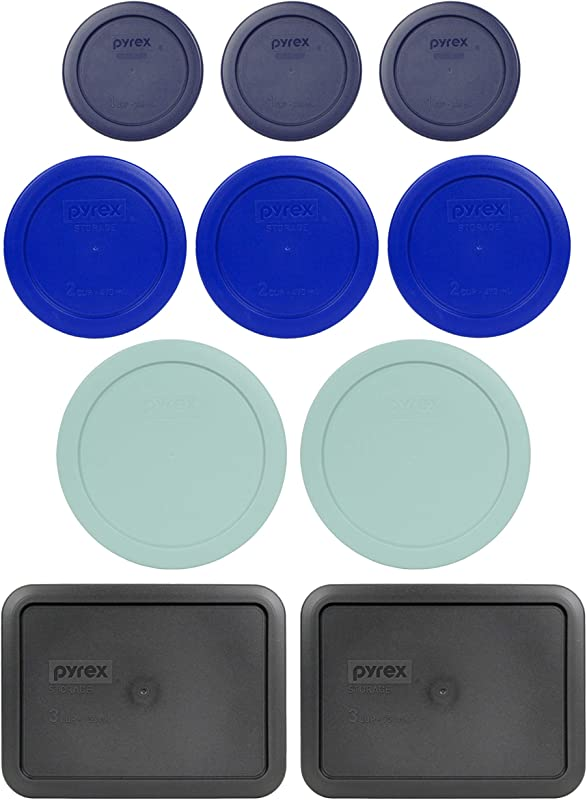 Pyrex 3 7202 PC 1 Cup Blue 3 7200 PC 2 Cup Cadet Blue 2 7201 PC 4 Cup Muddy Aqua 2 7210 PC 3 Cup Charcoal Grey Replacement Food Storage Lids