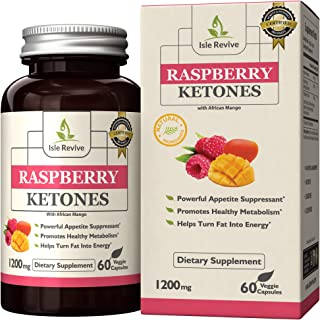 Raspberry Ketones Weight Loss Support with African Mango Extract, All-Natural Keto Diet Pills for Women and Men, Gluten Free, Non GMO (60 Capsules, 30 Day Supply)
