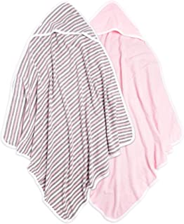 Burt's Bees Baby - Hooded Towels, Absorbent Knit Terry, Super Soft Single Ply, 100% Organic Cotton (Multi Stripe/Pink, 2-Pack)