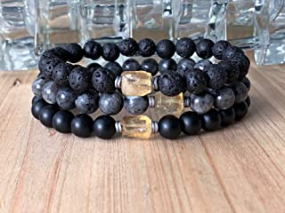 Mens bracelet set, Citrine, Black Moonstone, Onyx, Lava rock, mala set, set of 3 bracelets, tribal bracelets, men bracelet, mens mala, Mala beads, Healing reiki bracelets.