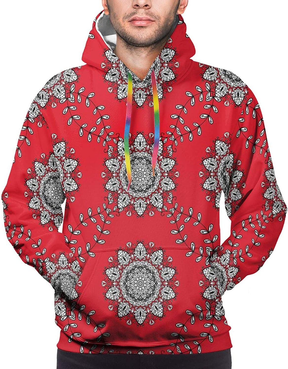 Men's Hoodies Sweatshirts,Sketchy Hand Drawn Print of Desert Plants with Mexican Travellers Image