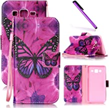 Samsung On5 Case, Galaxy On 5 Case LEECOCO Unique Printing Wallet Case with Card Holder Slots Wrist Strap PU Leather Flip Stand Slim Case Cover for Samsung Galaxy On5 G550 A Butterfly & Rose Case